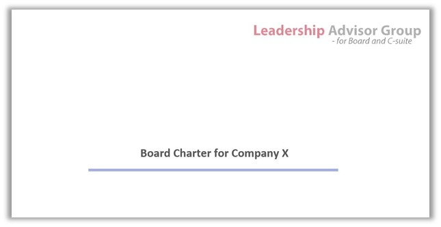 Board Charter front page Leadership Advisor Group